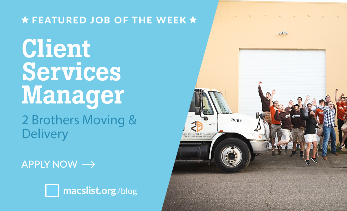 Featured Job of the Week: Client Services Manager, 2 Brothers Moving & Delivery