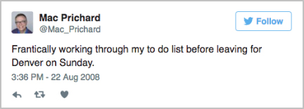 Mac's first Tweet.